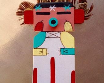 Hopi Flat Kachina Doll Dancer, Corn Dancer Kachina, Native American Indian Arizona, Corn Dancer Katsina, Native American Collectible Doll