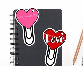 SALE Planner Die Cuts Printable, Clip Die Cuts, Heart Die Cut, Love Die Cut, Scrapbook Die Cuts, Planner Accessories - Office Supplies