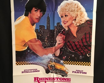 Original 1984 Rhinestone One Sheet Movie Poster, Sylvester Stallone, Dolly Parton, Country, Taxi, Music