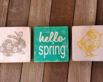 SEE SHOP ANNOUNCEMENT Wooden Easter Blocks, Hello Spring Blocks, Spring Wooden Blocks, Wood Bunny Block, Spring Wood Block Set, Floral Bunny
