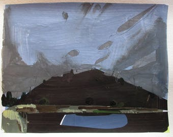 Dark Pool, Original Abstract Landscape Collage Painting on Paper, Stooshinoff