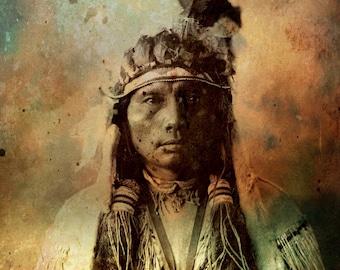Fine Art Print  of 'Chief Three Fingers'. Cheyenne, Native American Indian. American West, rituals, prayers, wall decor, JoWalshArt