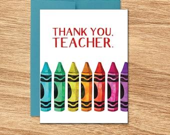 Thank You Teacher Card, Teacher Appreciation, Greeting Card for Teacher, Gift for Teachers, Elementary Teacher -  Crayons - 109