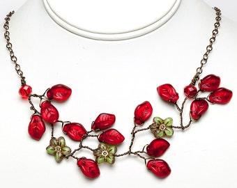 Green and Red Floral Necklace, Red and Green Vine Necklace, Leaf Necklace, Holiday Jewelr