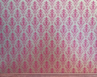 Dollhouse Miniature Jackson's Victorian Wallpaper Red on Gold 1:12 Scale