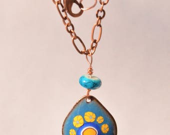 Enameled Copper Drop Pendant Necklace - blue with yellow flowers and blue bead. Kiln Fired. Unique Gift!