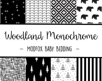 Woodland Monochrome Baby Bedding - Black and White Bedding - Woodland Crib Sheet - Black Crib Sheet - Monochrome Bedding- Crib Bedding