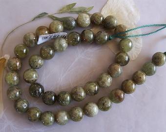 "Grossular Green Garnet Gemstone Polished Organic Rough Round Beads ~ 15"" Strand ~ 10mm"