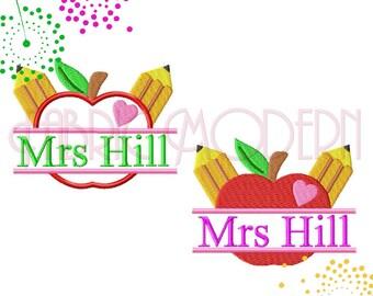 APPLE FOR TEACHER monogram Split Frame Machine Embroidery Design filled and applique'  4x4  5x7  6x8  teacher gift  #713