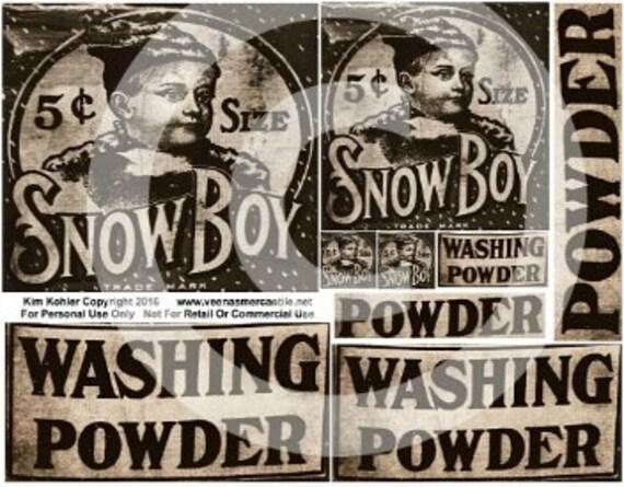 Snow Boy Washing Powder Detergent Laundry Vintage Label