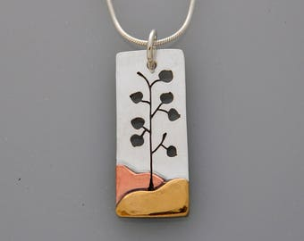 Mixed metal jewelry, Aspen Tree necklace, silver, copper, brass mixed metal pendant