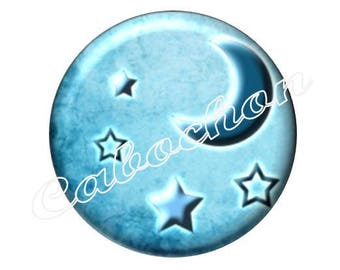 2 cabochons 20mm glass, moon stars, blue tone