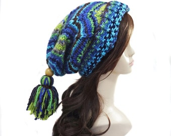 Slouchy Hat with Tassel - Slouch Hat - Chunky Knit Hat