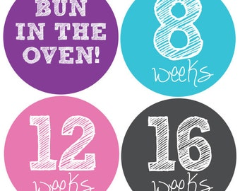 Pregnancy Stickers, Maternity Stickers, Weekly Pregnancy Stickers, Belly Stickers, Baby Bump Sticker
