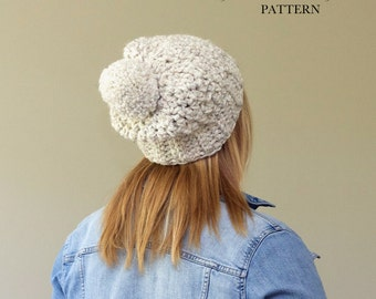 Crochet Slouch Hat PATTERN / Pom Pom Hat / Slouchy Beanie Pattern / Chunky Hat / Toque / PDF / Made in Canada