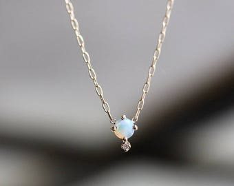 "14K Opal Diamond ""Love Drop"" Necklace, Opal Necklace, Solid Gold Necklace, October Birthstone Necklace, Minimal Necklace, Layering necklace"