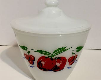 Vintage Fire King Apple Cherry Lidded Grease Dish