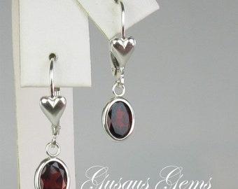 Memorial Day Sale Garnet Drop Earrings/Garnet Dangles/Garnet 8x6/Silver Backset Drop/Garnet Earrings/Sterling Garnet/GarnetLeverbacks/Natura