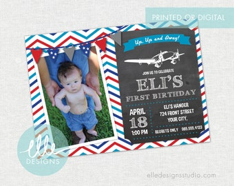 Airplane Party Invite · Airplane Party · Photo Invitation · Printed Cards or Digital · Boy Birthday · Birthday Invitation