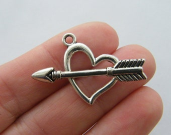 6 Heart and arrow toggle clasps antique silver FS93
