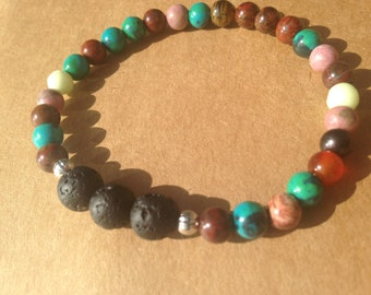 Colorful Rainbow Natural Gemstones and Lava Beads Essential Oil Diffuser Bracelet