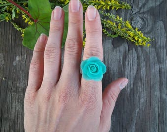 Mint rose ring from polymer clay, handmade ring, polymer clay ring, handmade rose, clay rose, gift idea, polymer clay gifts, flowers.