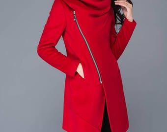 Red Coat, Asymmetrical coat, cowl neck jacket, coats, wool coat, wollmantel, women wool coat, wool jacket asymmetriccal, winter coat C1025