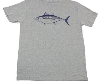 ALBACORE - Men's T-shirt - Dark Heather Grey T - Blue fish - Fishing - original drawing - fisherman gift - by uroko - limited