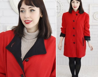 Vintage Red Kashmiracle Coat with Black Buttons and Lining by Wellington Fashions Size Medium or Large