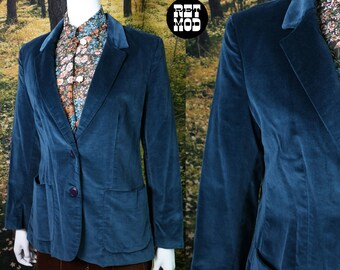 Classy yet Sassy Vintage 70s Dark Teal Blue Velvet Blazer with Original Tags! Deadstock