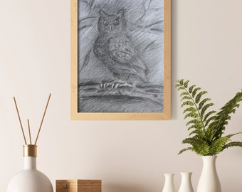 Original pencil drawing owl. Black and white owl. A4 great horned owl.