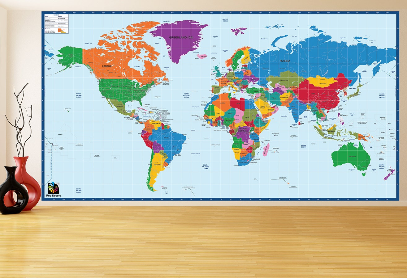 Children educational wall stickers world map 96h zoom gumiabroncs Choice Image