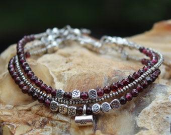 Red Garnet Bracelet - Red Garnet Jewelry -  Hill Tribe Silver -  Beaded Garnet Bracelet - January Birthstone - Red Bracelet - Gift for Her