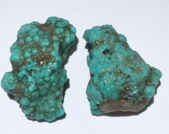 2pc Rare 12.7g Authentic Natural Raw Morenci Turquoise w/ Pyrite Crystal Nugget Set - Morenci, Arizona, USA - Item:TQ17011
