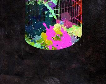 Birdcage Watercolour - Original Graphic Art Print - Photo Poster Gift