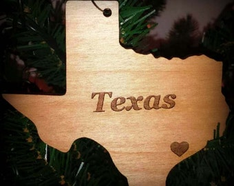 Texas Christmas Ornament Texas, State of Texas Christmas Ornament Holiday with Hometown Heart, Wood, Engraved, Custom, Rustic Wood