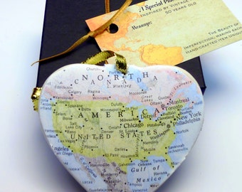 United States Map Christmas Ornament, Your Special Place in the Heart / HONEYMOON Gift / Wedding Map Gift / Travel Tree Ornament /