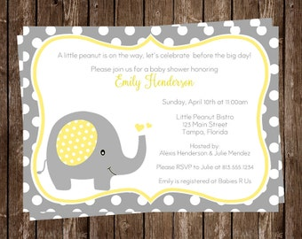 Elephant Baby Shower Invitation, Yellow, Little Peanut, Polka Dot, Gray, Elephant, Customizable, 10 Printed Invites, FREE Shipping