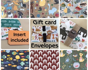 Pet / animal themed gift card envelope | 6 designs | money card | thank you gift | invitation | DIY coupon | voucher holder | charity