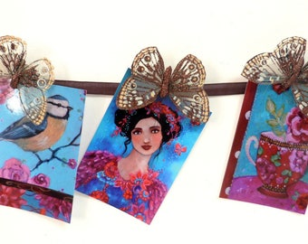 Art postcards x 3 ,romantic woman, tip and cup with flowers.
