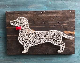 Dachshund String Art, Wall Hanging, Gallery Wall, Felt Bow, Rustic Home Decor, custom pet gift, Rustic String Art, Wood Wall Sign, Doxie Art