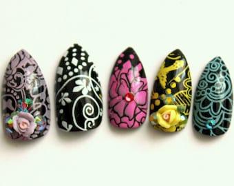 Black and Pastel Flourish Stiletto Nails | Press On Stiletto Nails | 3D Nails | Glue On Acrylic Nails | Black Pastel Fake Nail
