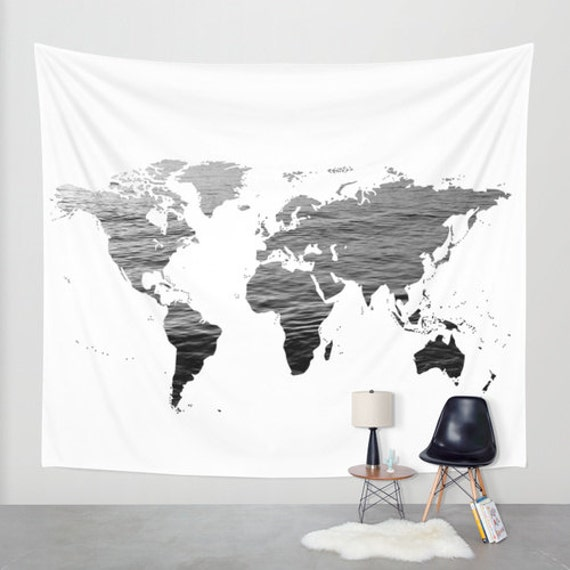 Sea texture world map wall tapestry map large size wall art like this item gumiabroncs Choice Image