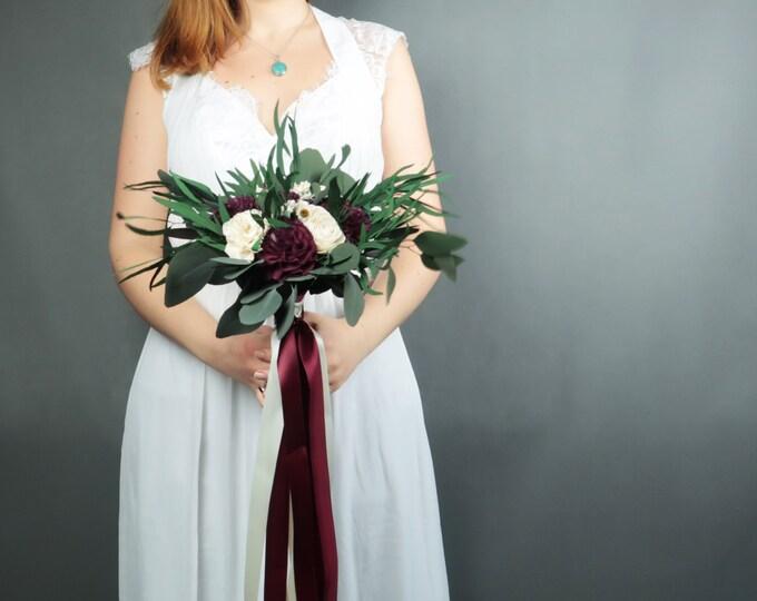 Boho southwestern wedding bouquet burgundy wine ivory sola flowers preserved eucalyptus vintage style long ribbons bridesmaid