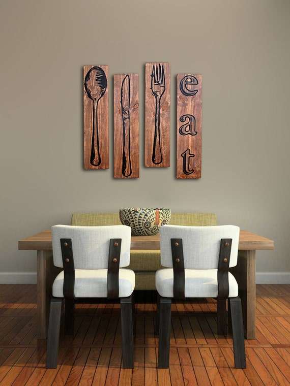 Beautiful Extra Large Fork Knife And Spoon Wall Art EAT Sign Set On