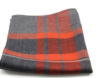Orange and gray pocket square, Plaid pocket square, Men's pocket square, Groomsmen pocket square, Boys pocket square. Handkerchief