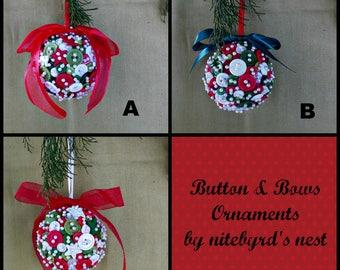 Button Christmas Ornaments - OOAK