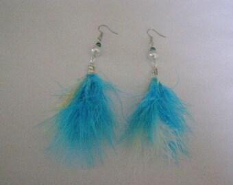 dangle earrings, feather