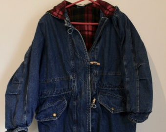 Oversized Denim and Flannel Toggle Coat