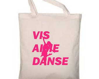 "Cotton bag ecru 38x42cm ""Live, love Dance"" choose colors"